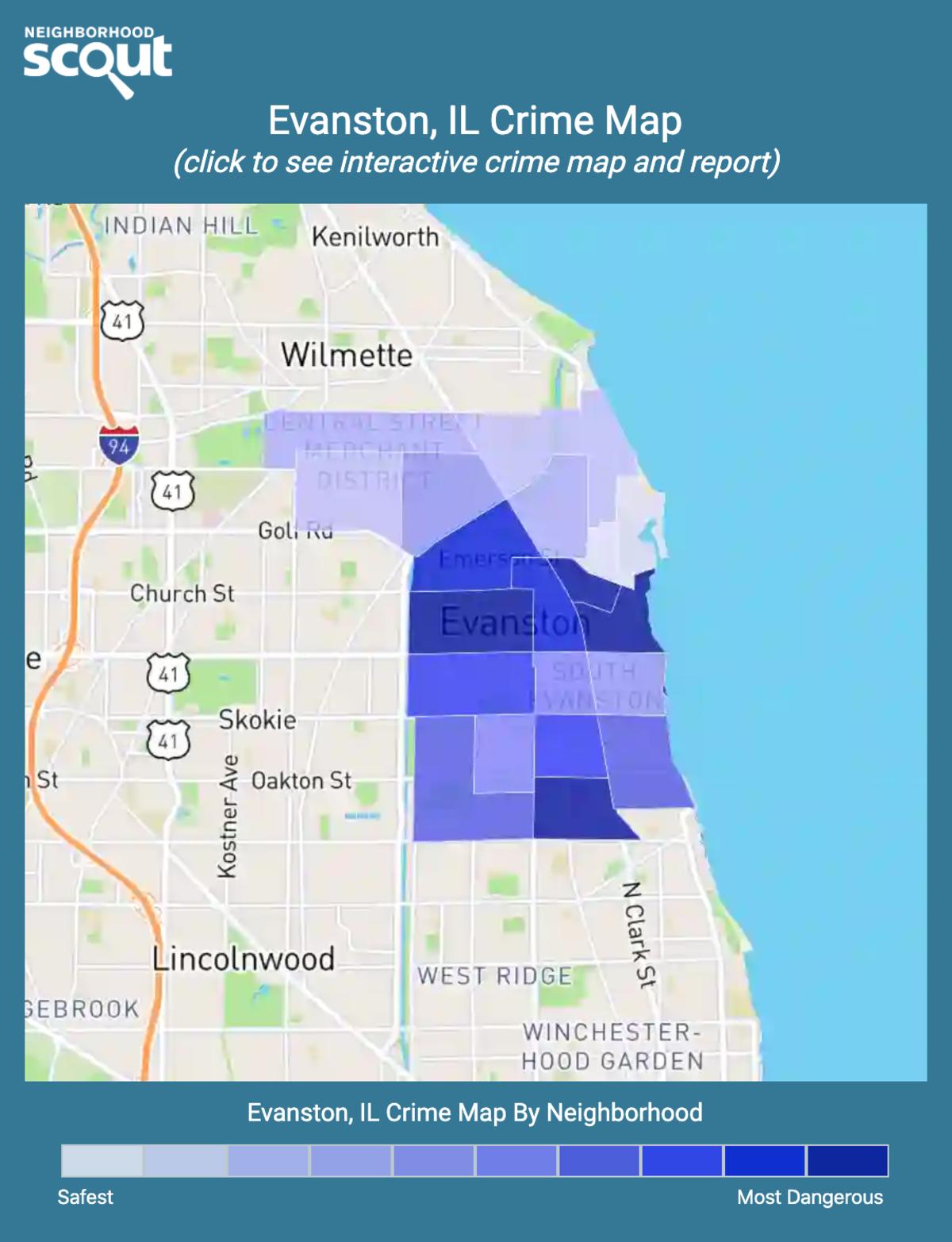 Evanston, Illinois crime map