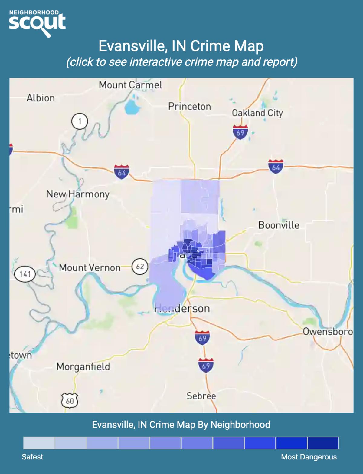 Evansville, Indiana crime map