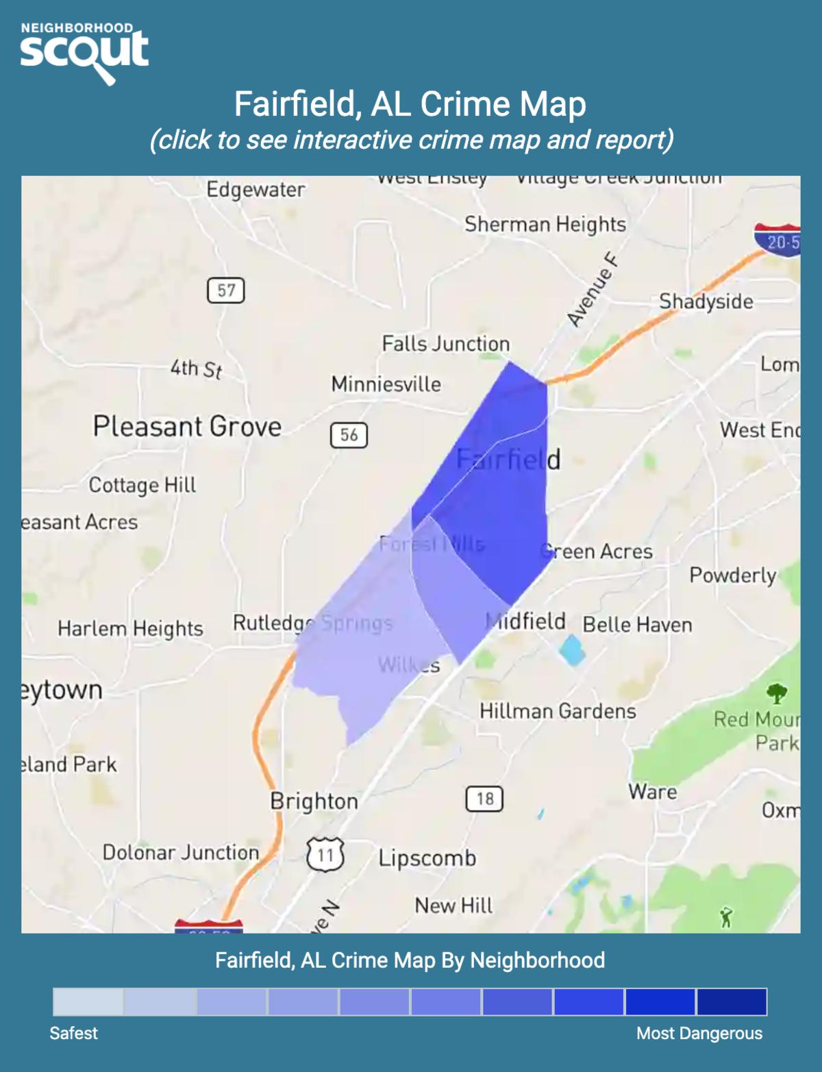 Fairfield, Alabama crime map
