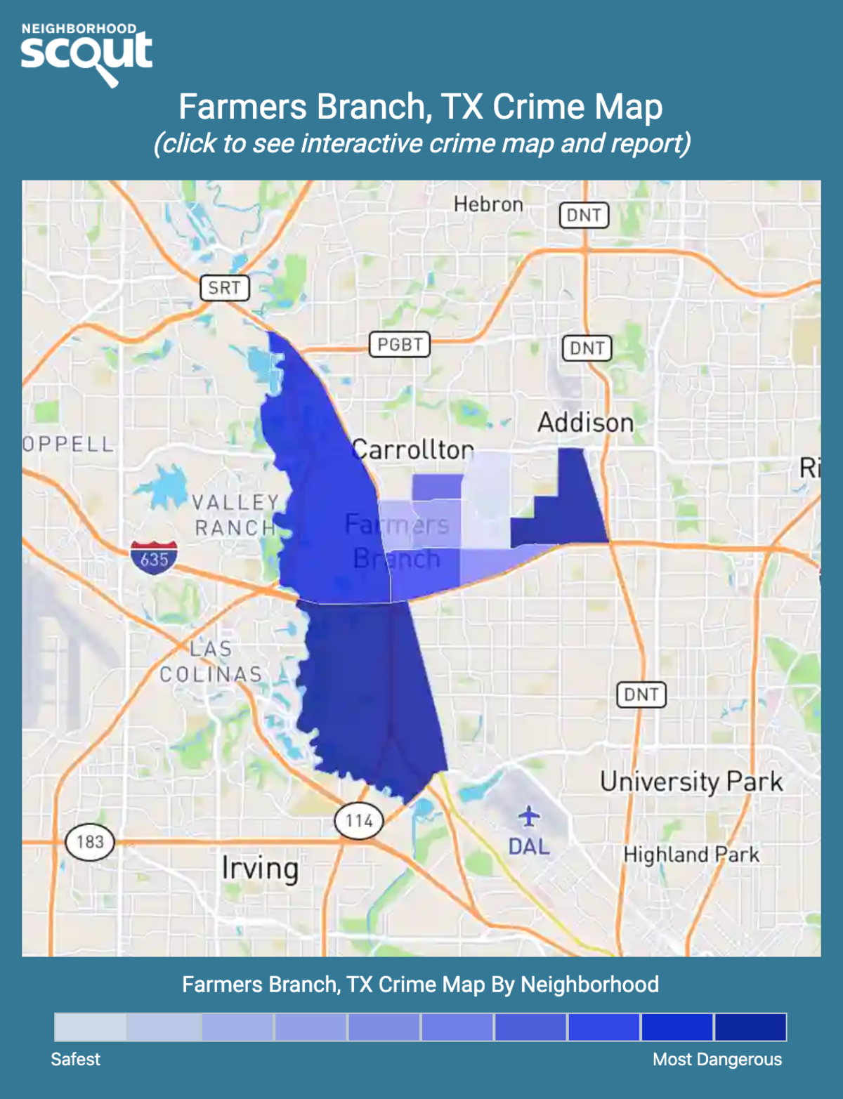 Farmers Branch, Texas crime map