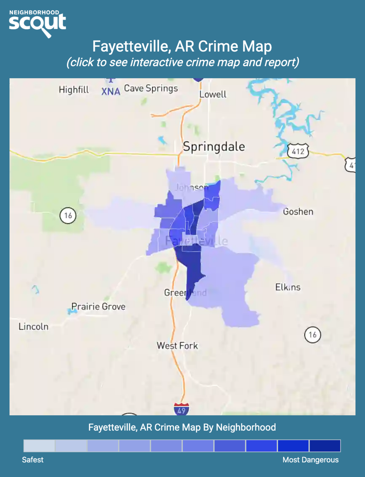 Fayetteville, Arkansas crime map