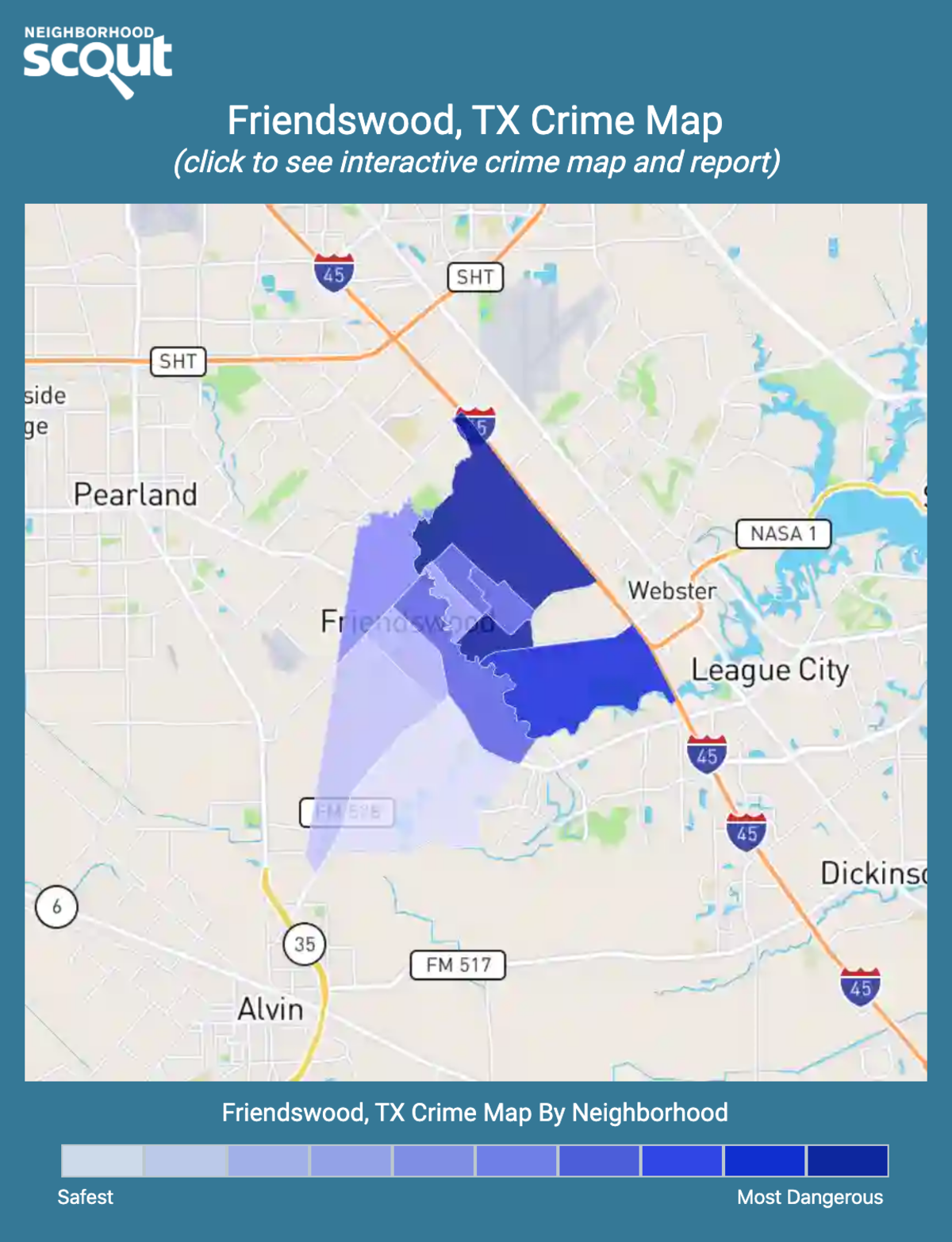 Friendswood, Texas crime map