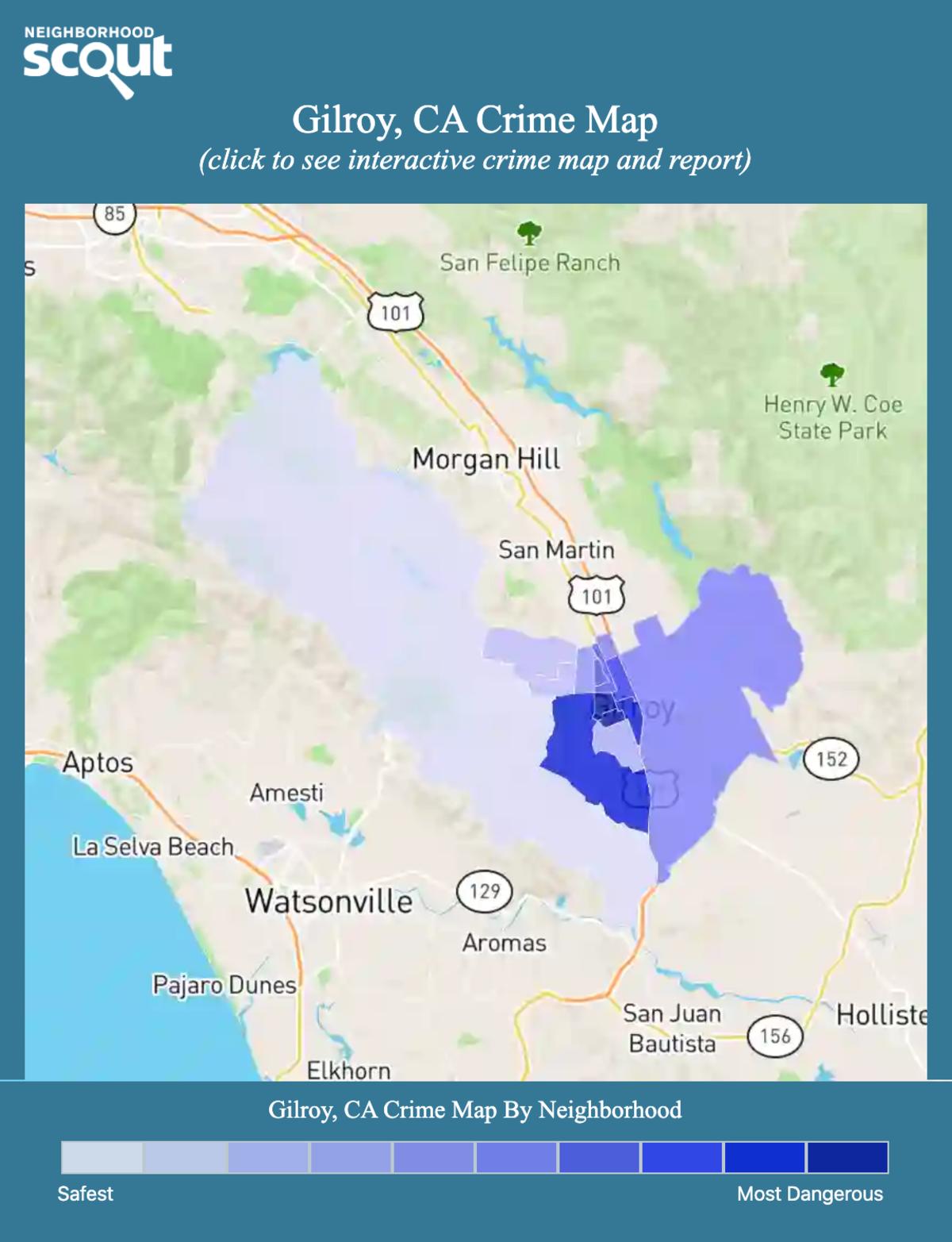 Gilroy, California crime map