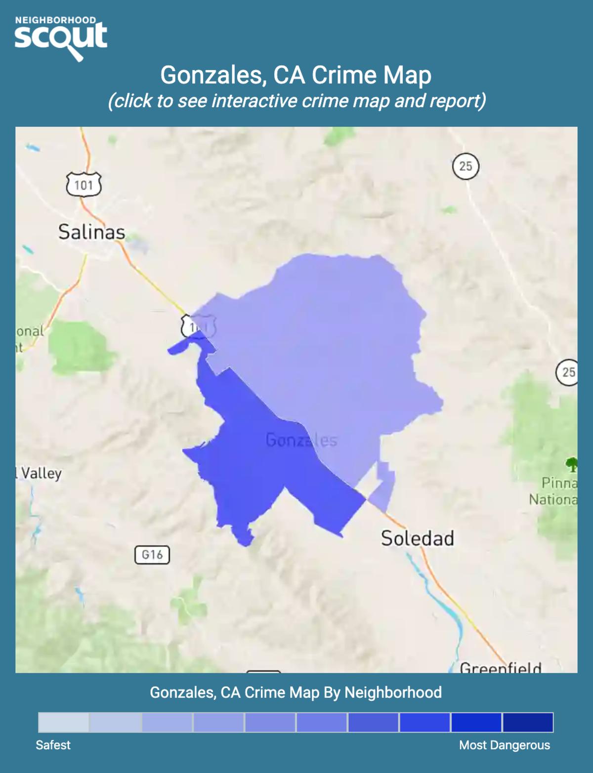 Gonzales, California crime map