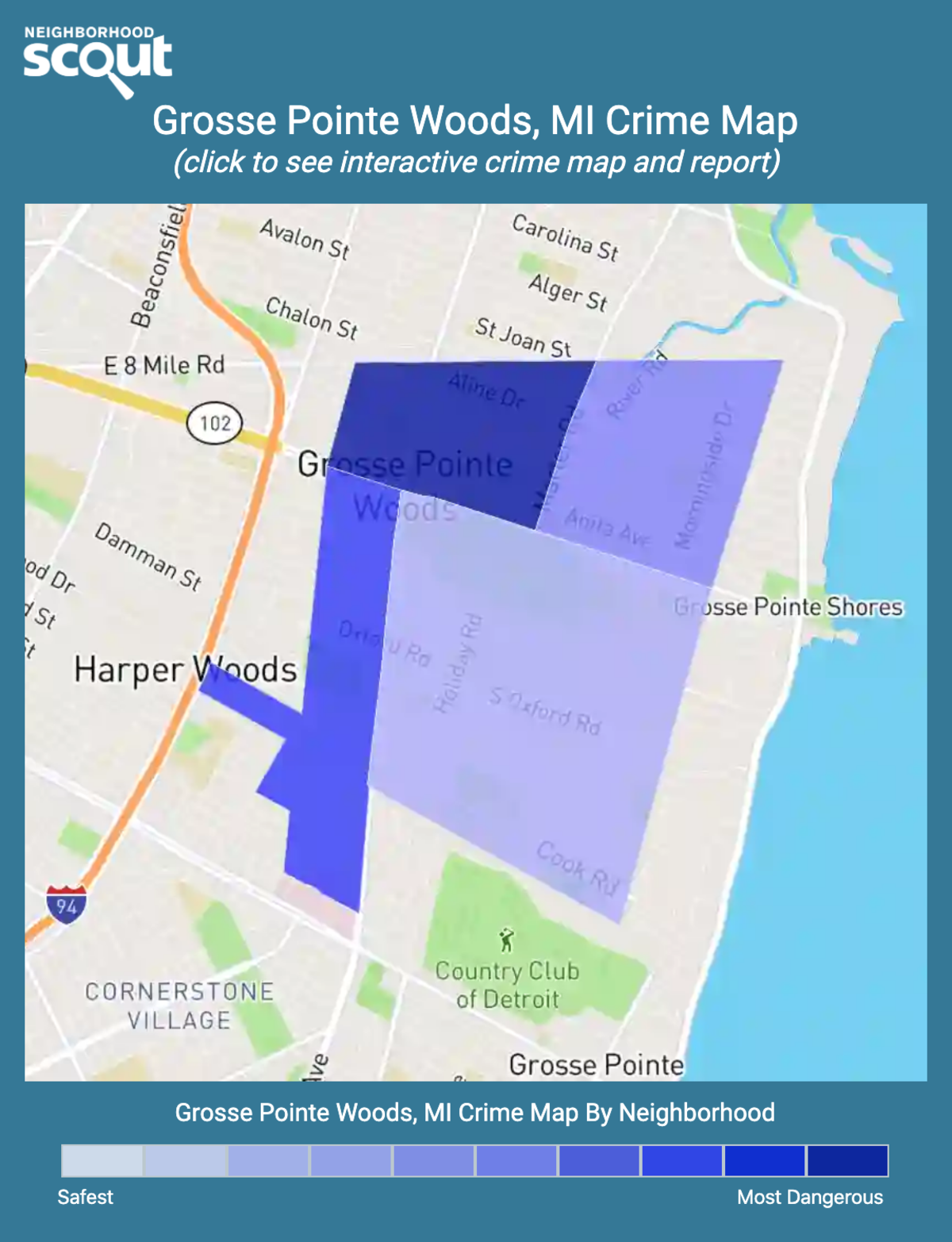 Grosse Pointe Woods, Michigan crime map