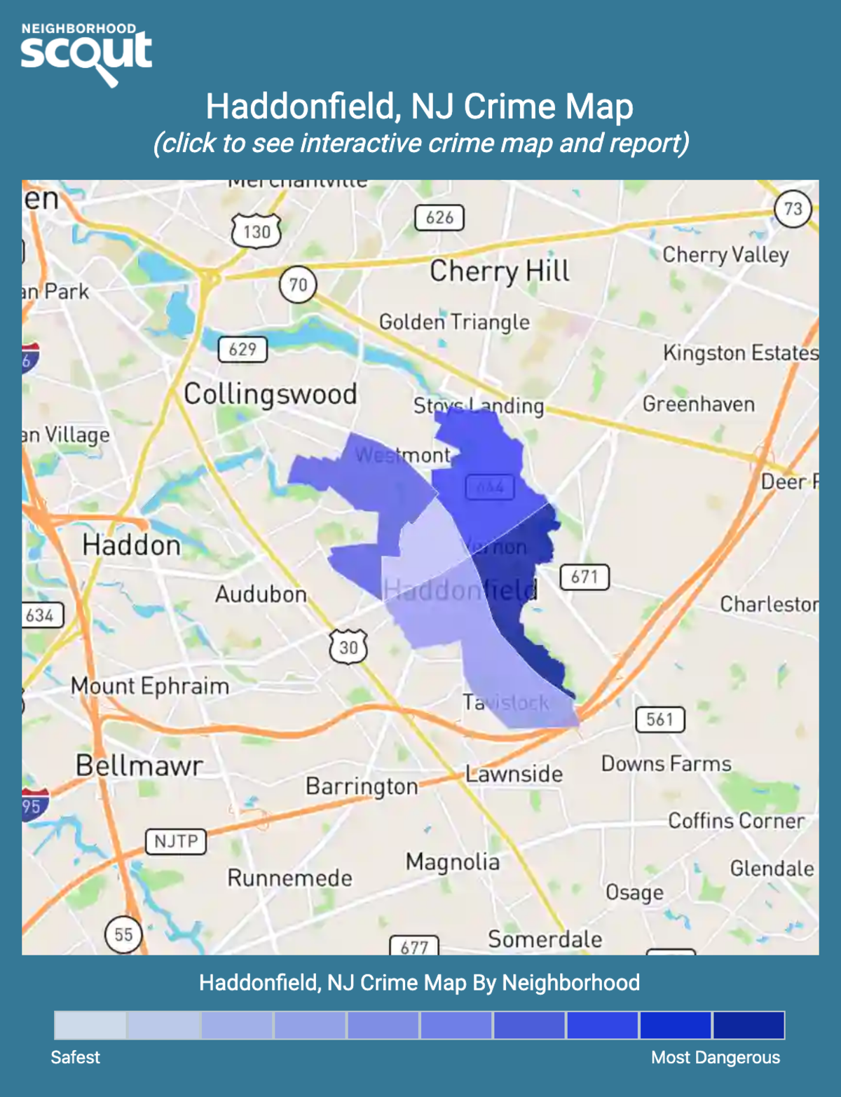 Haddonfield, New Jersey crime map