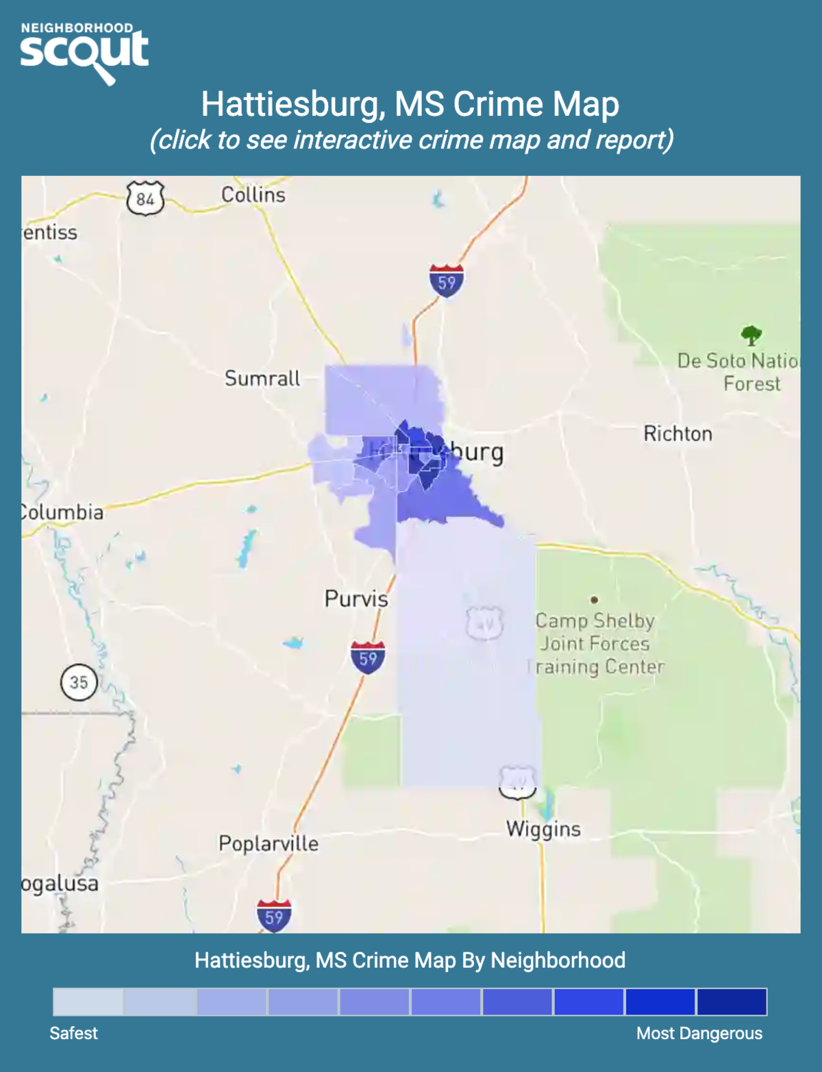Hattiesburg, Mississippi crime map