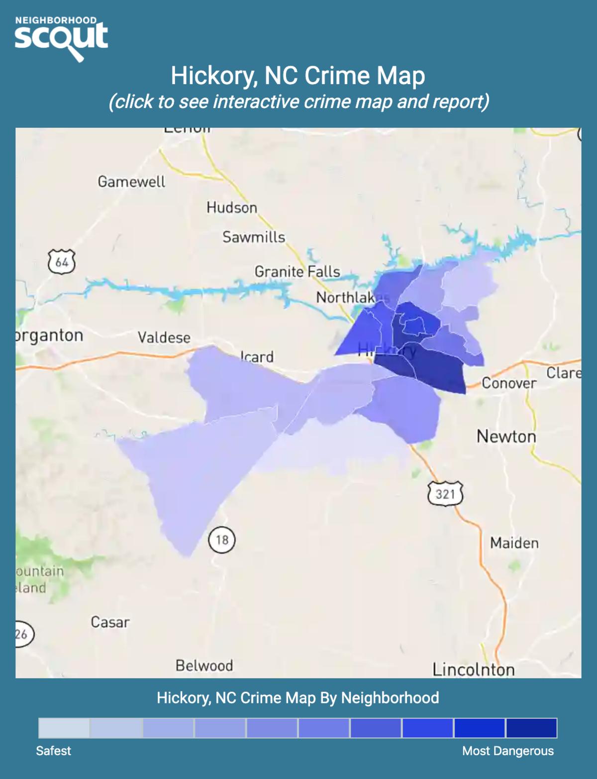 Hickory, North Carolina crime map