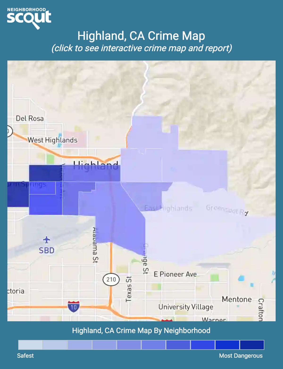 Highland, California crime map