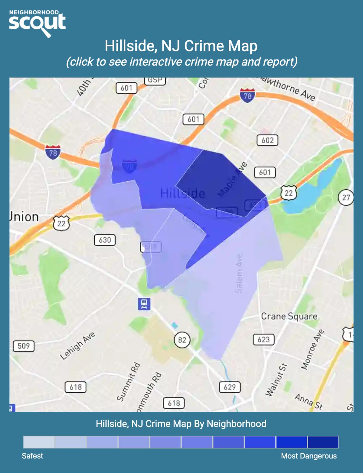 Hillside, New Jersey crime map