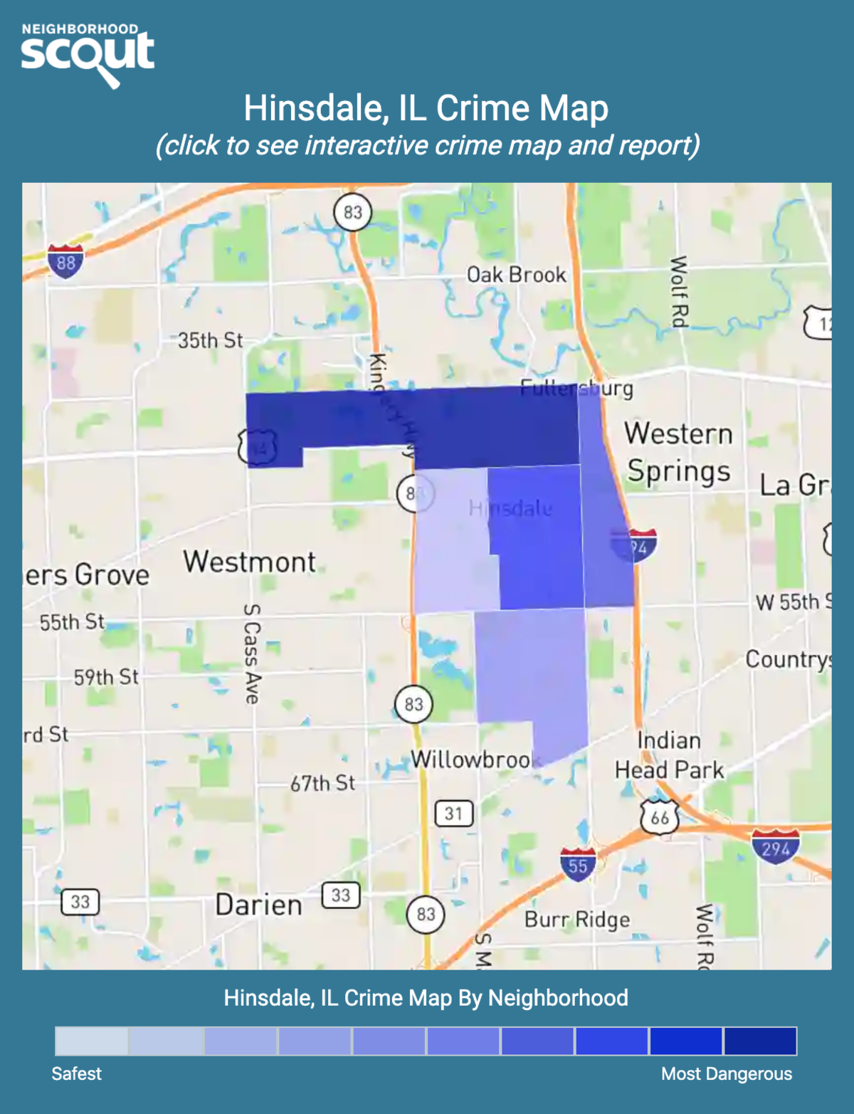 Hinsdale, Illinois crime map
