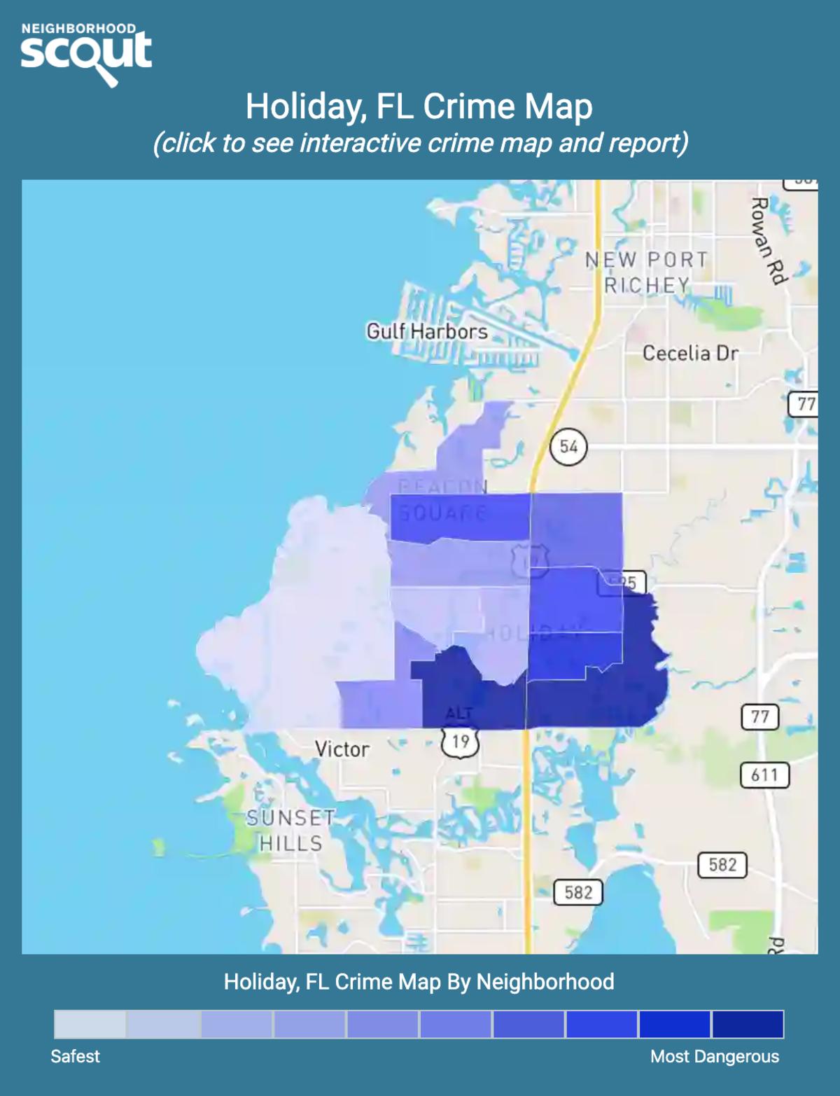 Holiday, Florida crime map