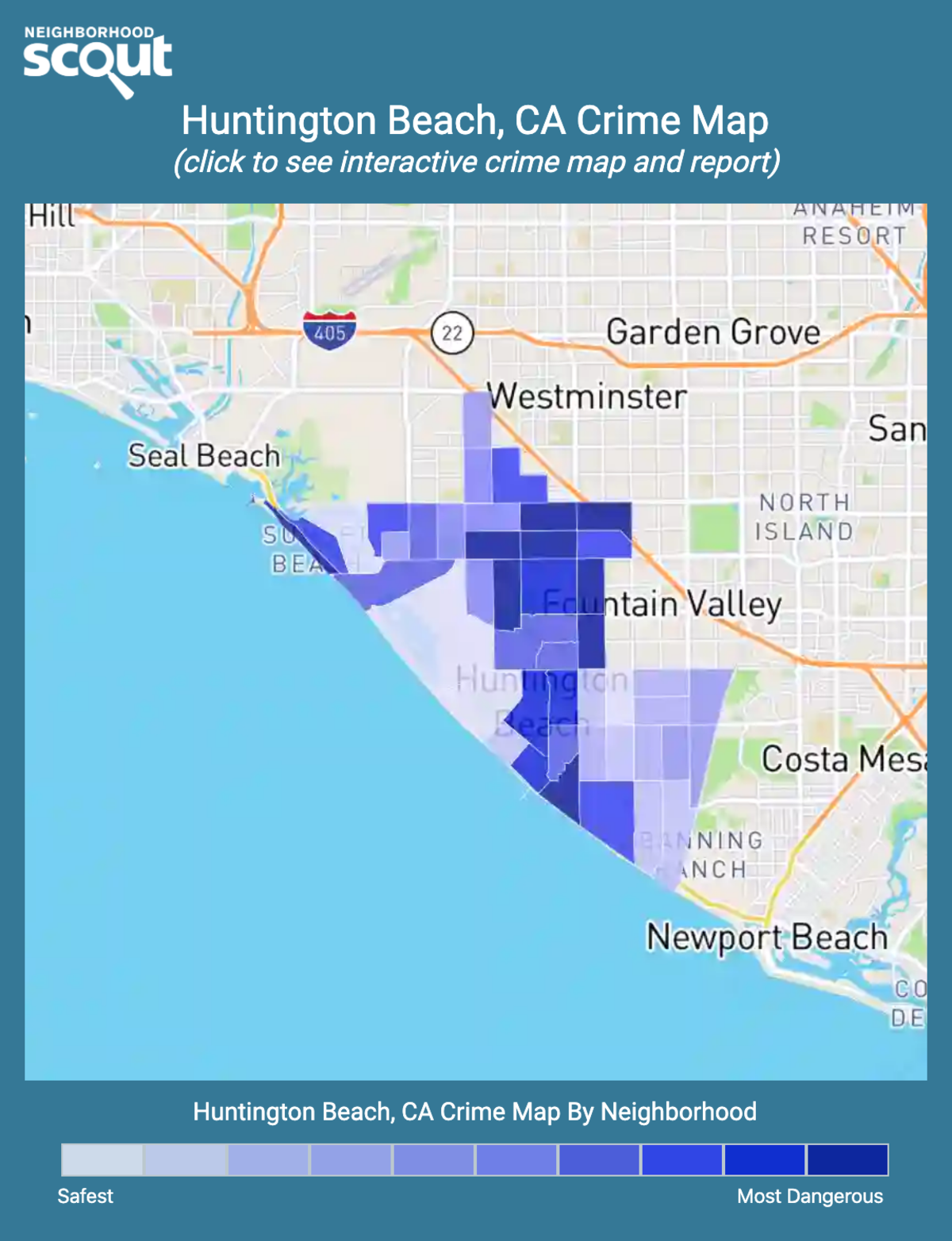 Huntington Beach, California crime map