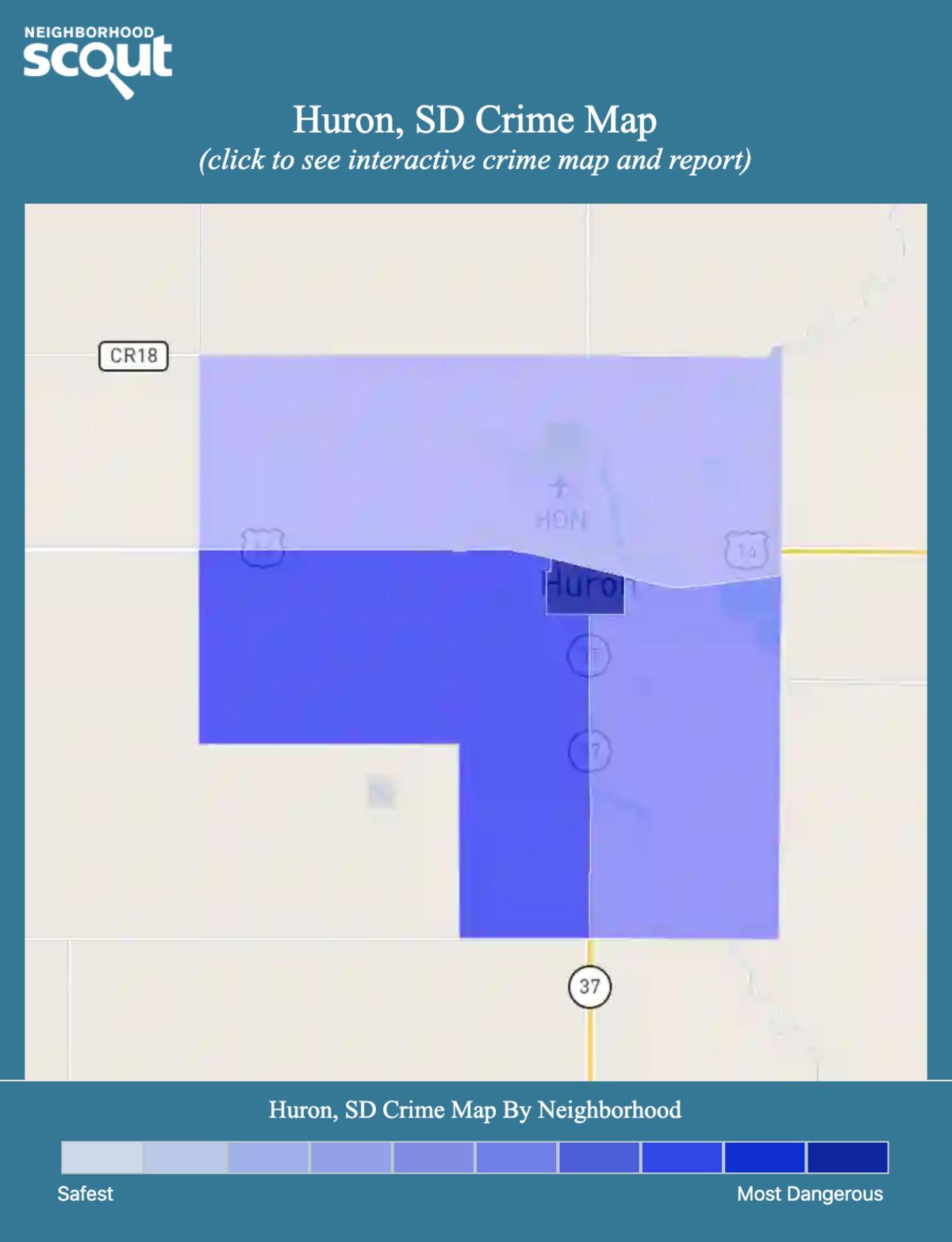 Huron, South Dakota crime map