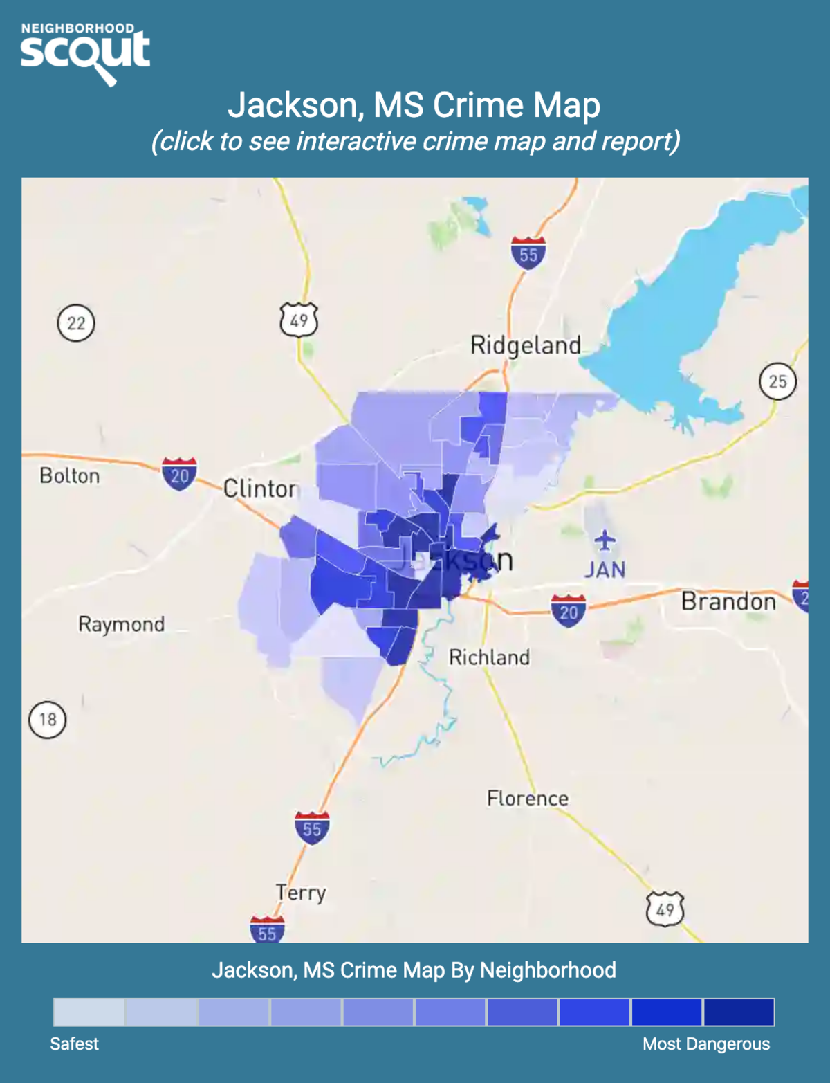 Jackson, Mississippi crime map