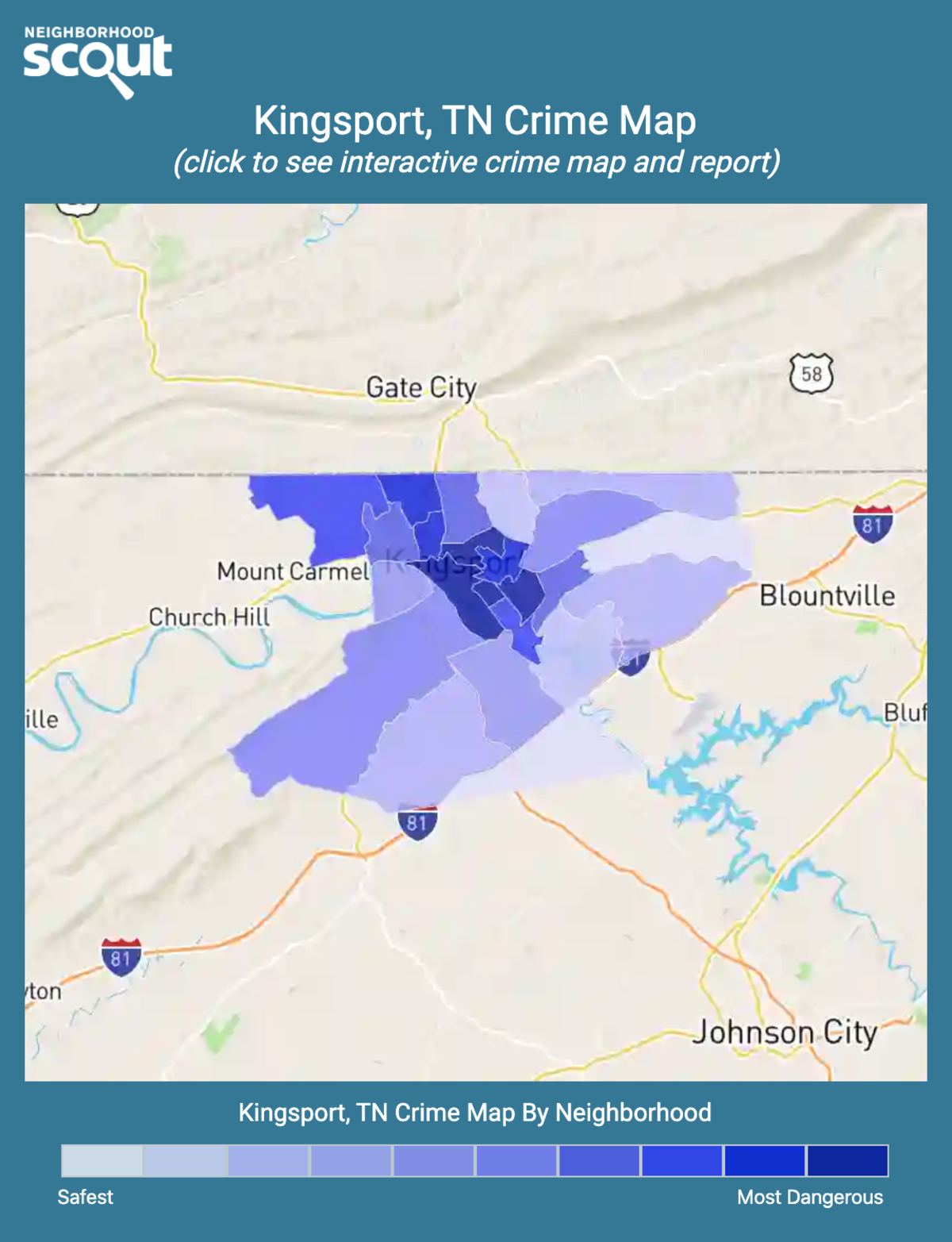 Kingsport, Tennessee crime map