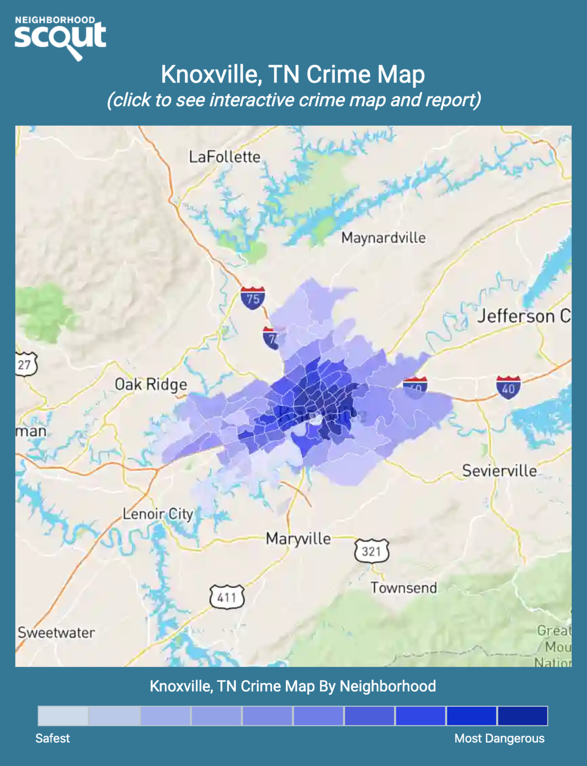 Knoxville, Tennessee crime map