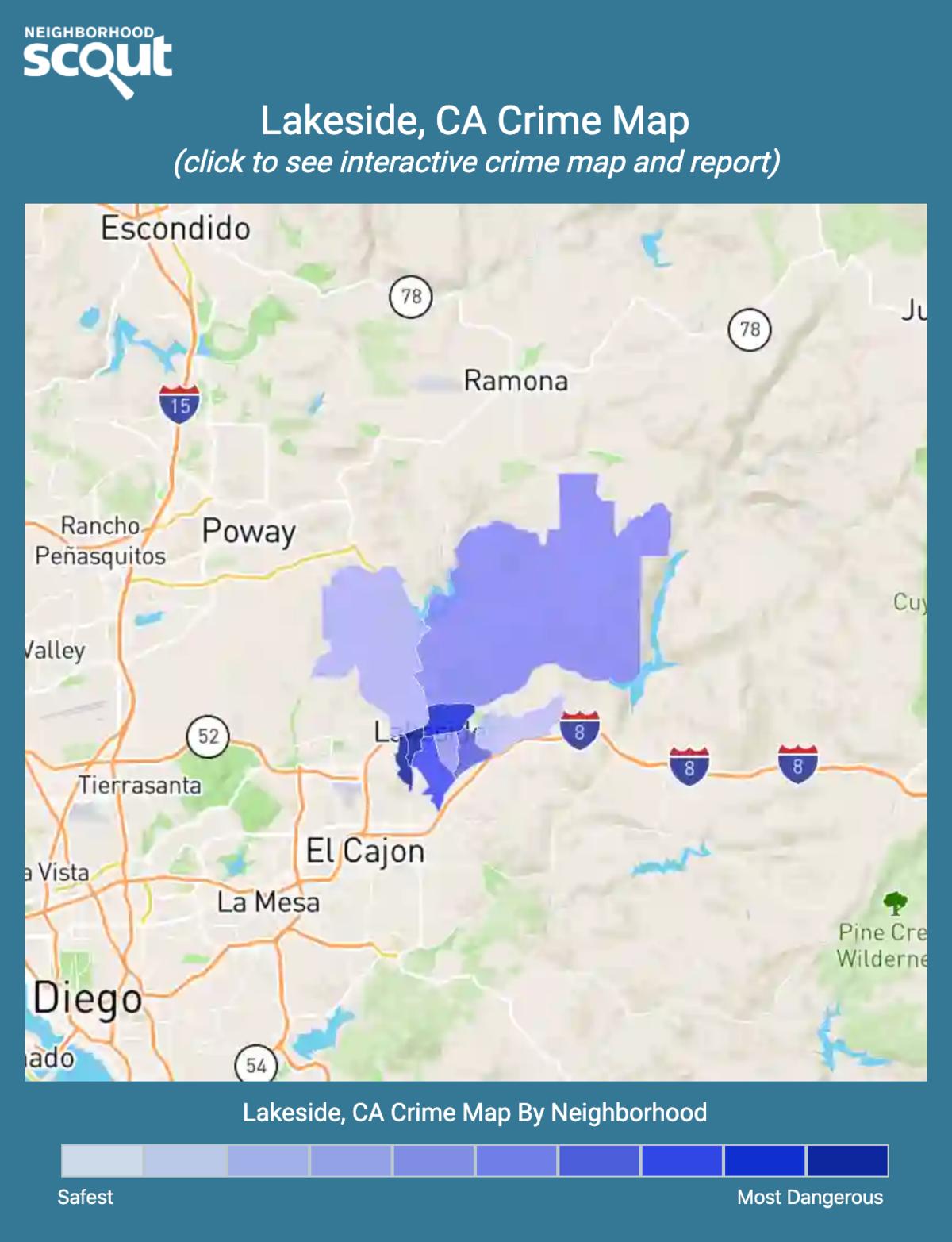 Lakeside, California crime map