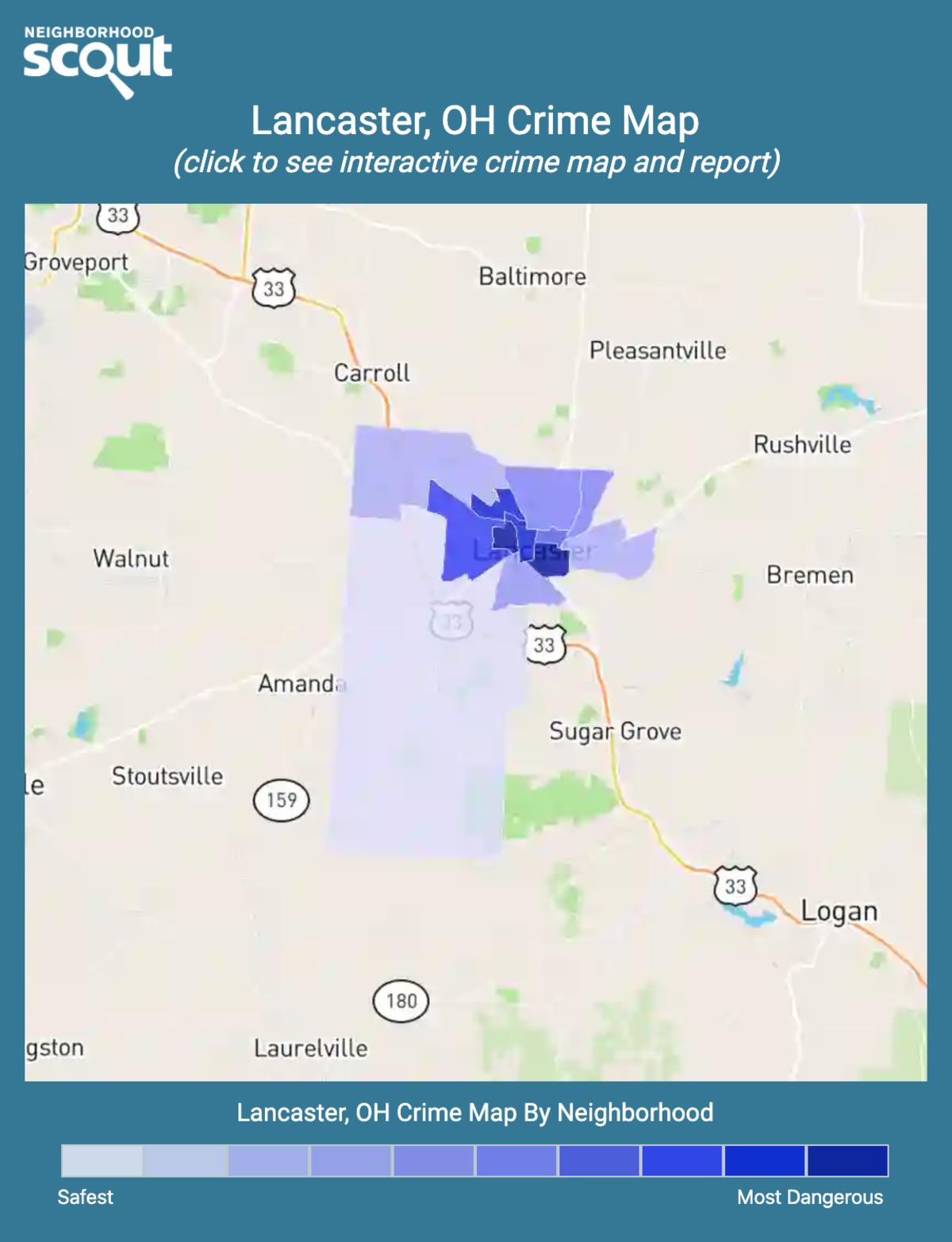 Lancaster, Ohio crime map