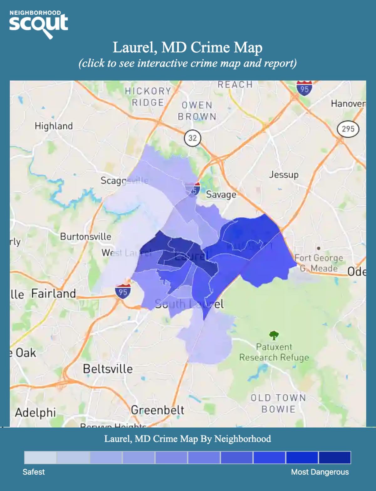 Laurel, Maryland crime map