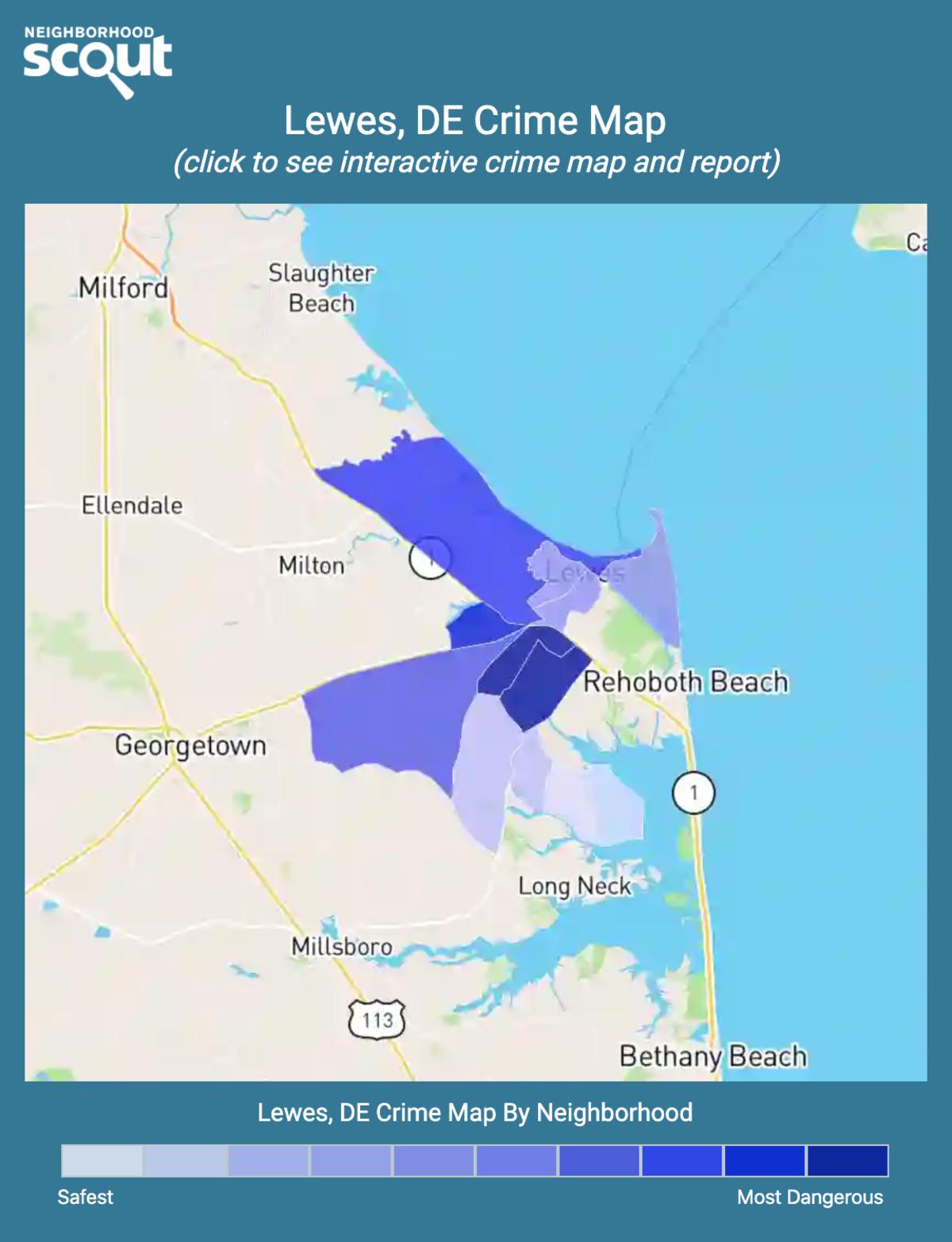 Lewes, Delaware crime map