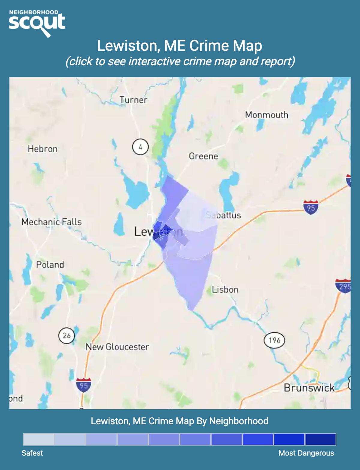 Lewiston, Maine crime map