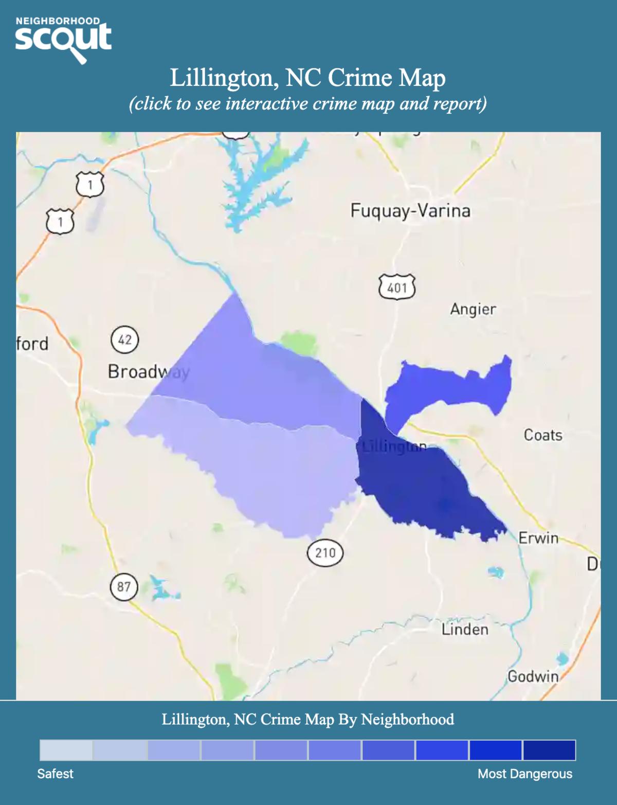 Lillington, North Carolina crime map