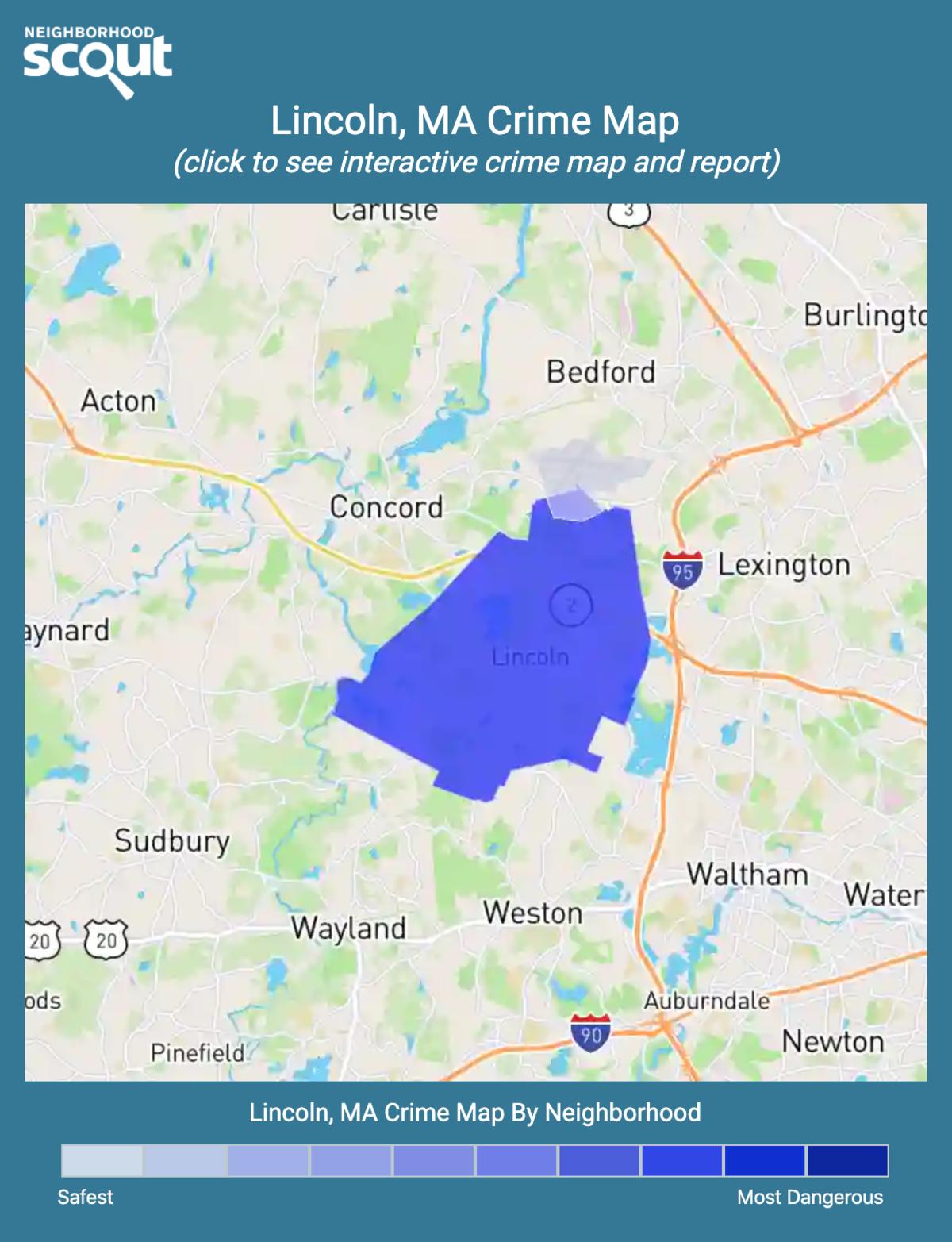 Lincoln, Massachusetts crime map