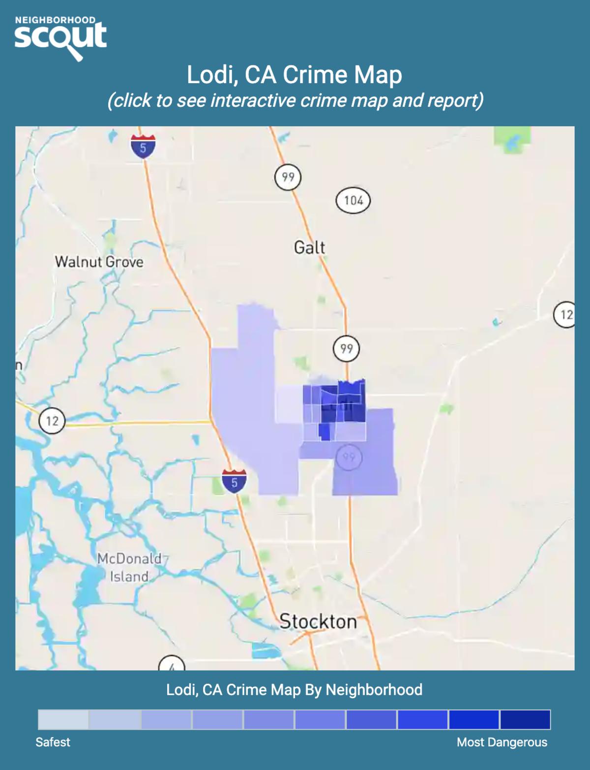 Lodi, California crime map