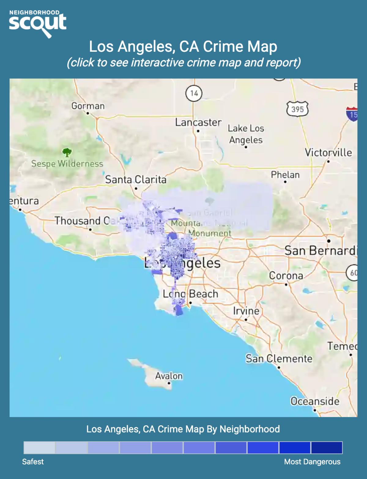 Los Angeles, California crime map