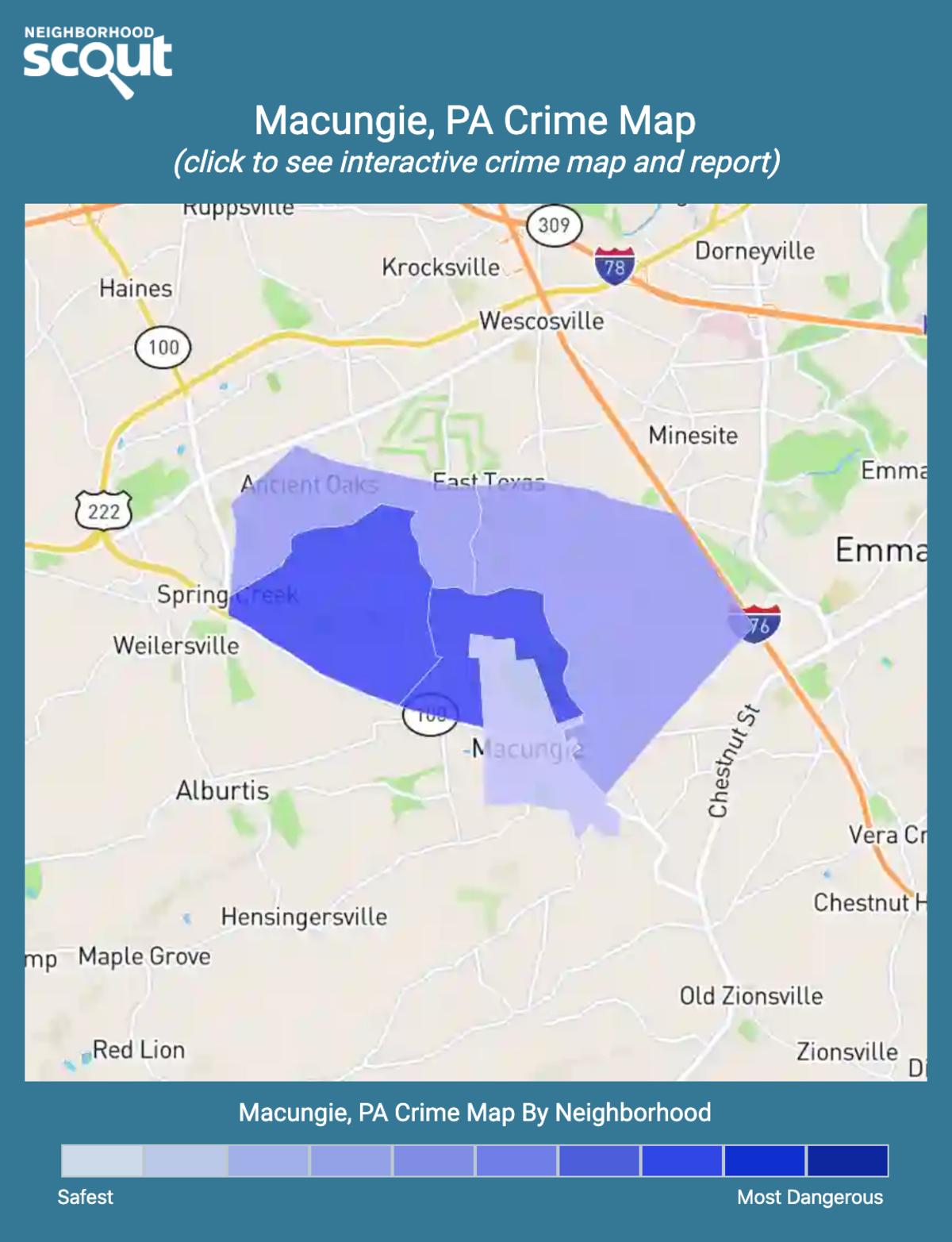 Macungie, Pennsylvania crime map