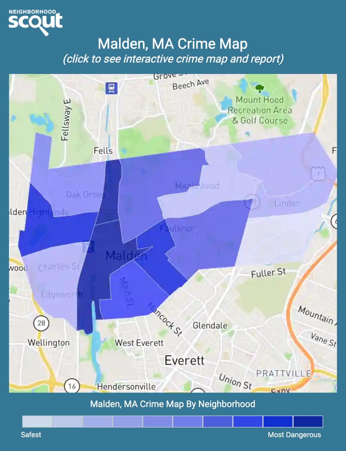 Malden, Massachusetts crime map