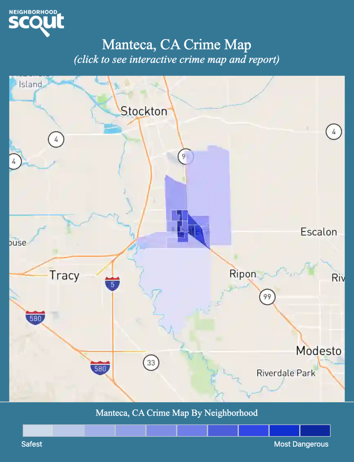 Manteca, California crime map