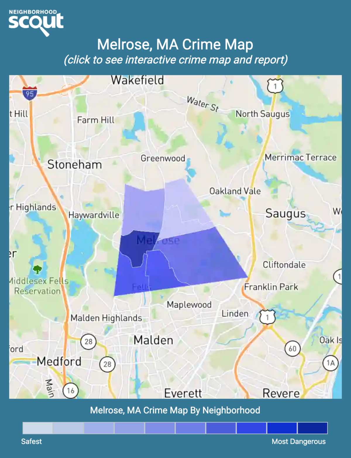 Melrose, Massachusetts crime map