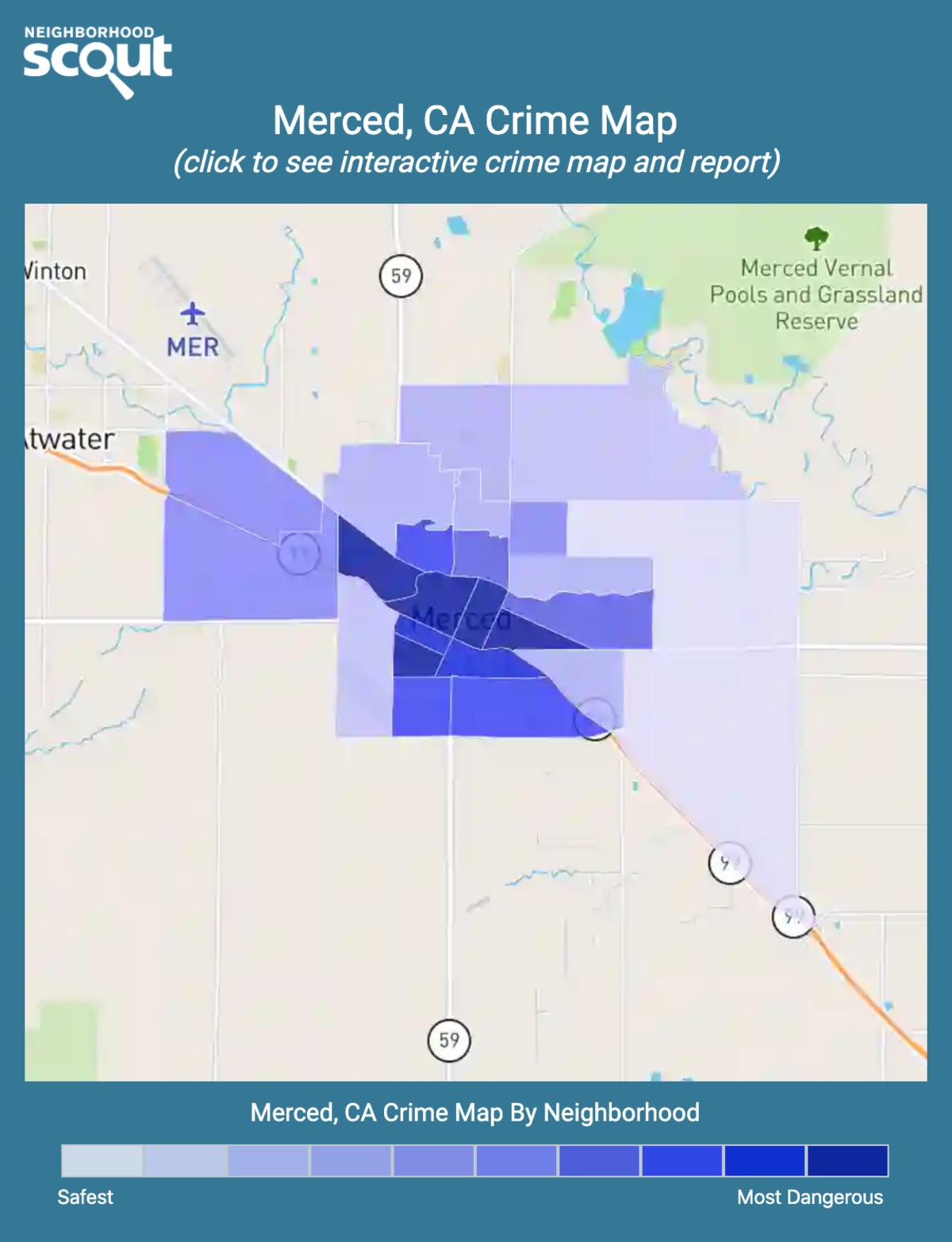 Merced, California crime map
