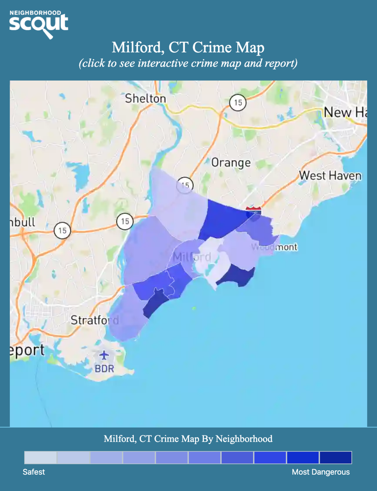 Milford, Connecticut crime map