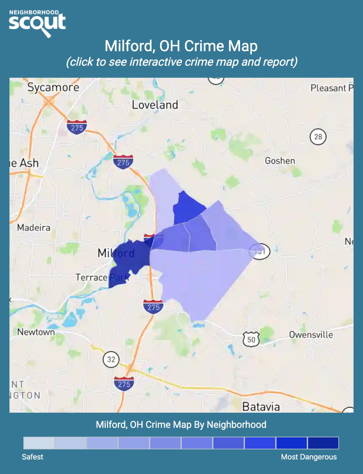 Milford, Ohio crime map