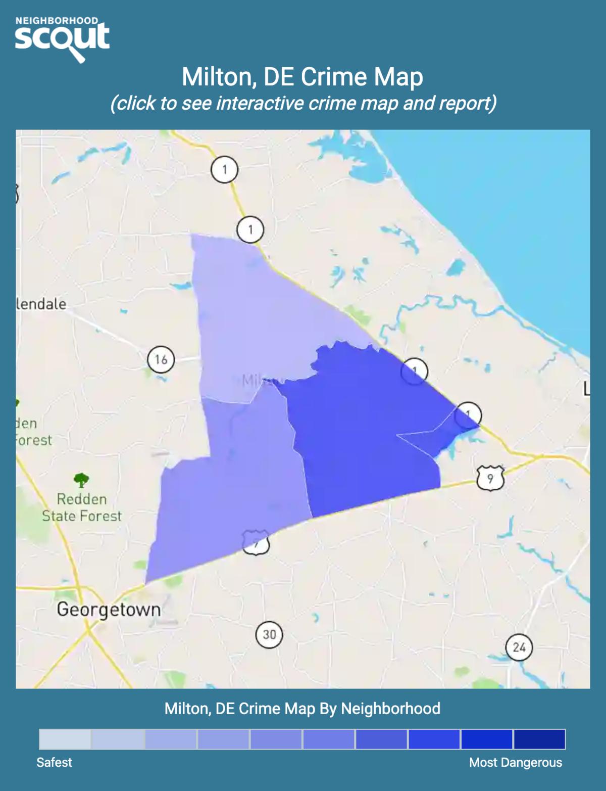 Milton, Delaware crime map