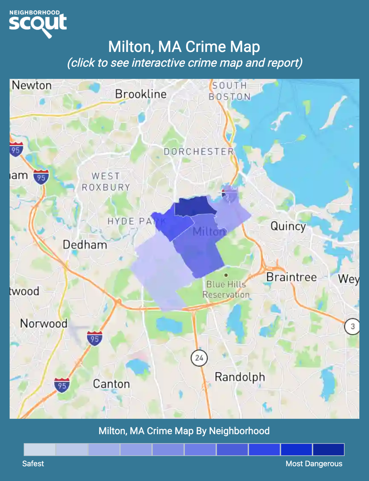 Milton, Massachusetts crime map