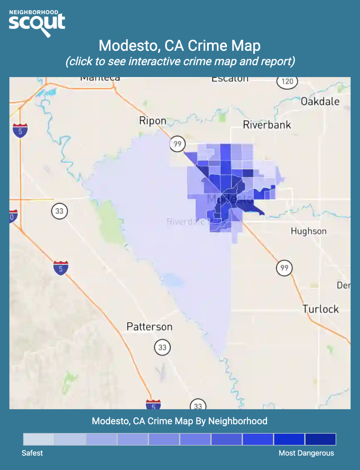 Modesto, California crime map