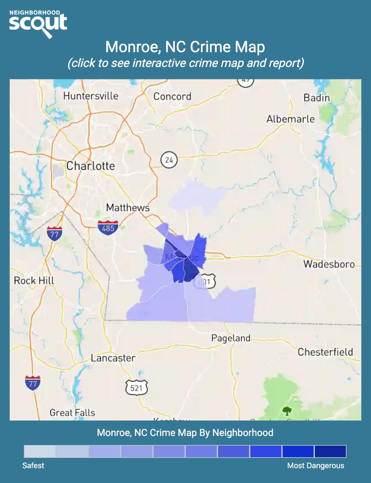 Monroe, North Carolina crime map