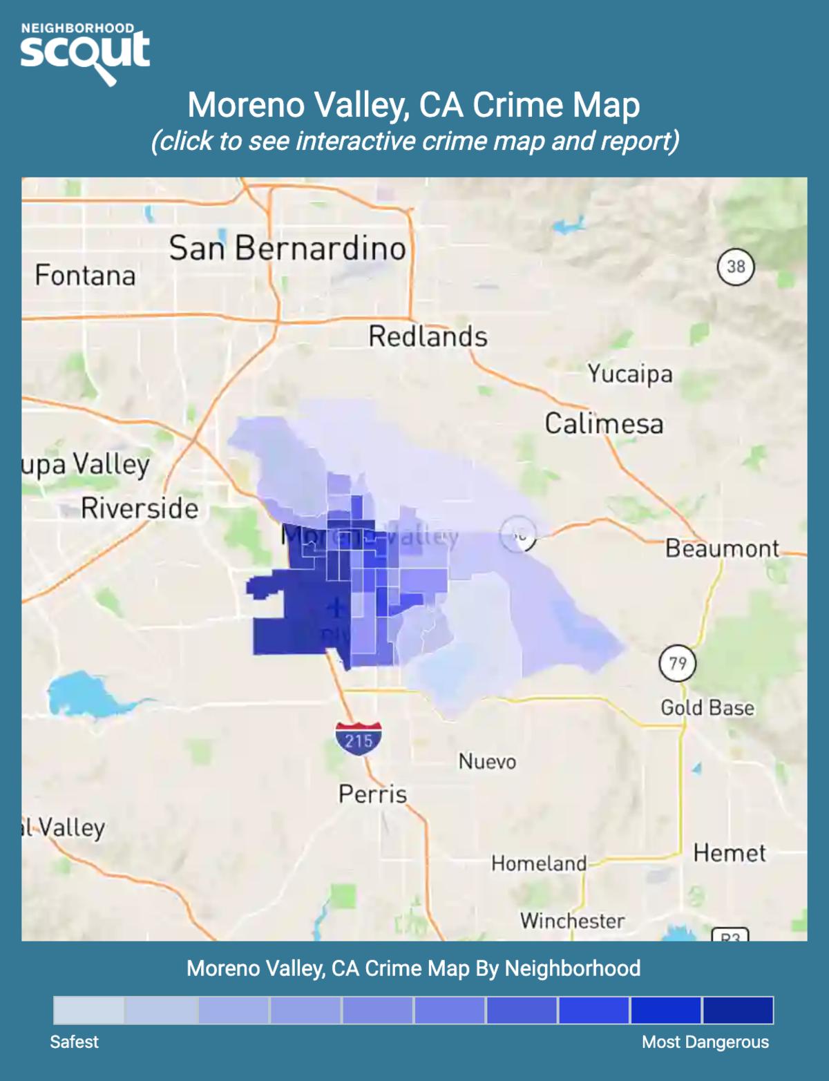 Moreno Valley, California crime map