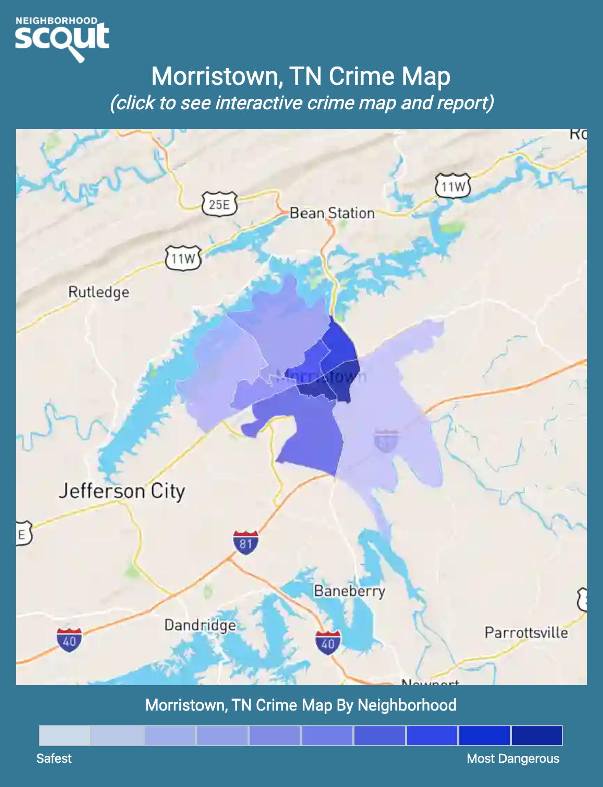 Morristown, Tennessee crime map