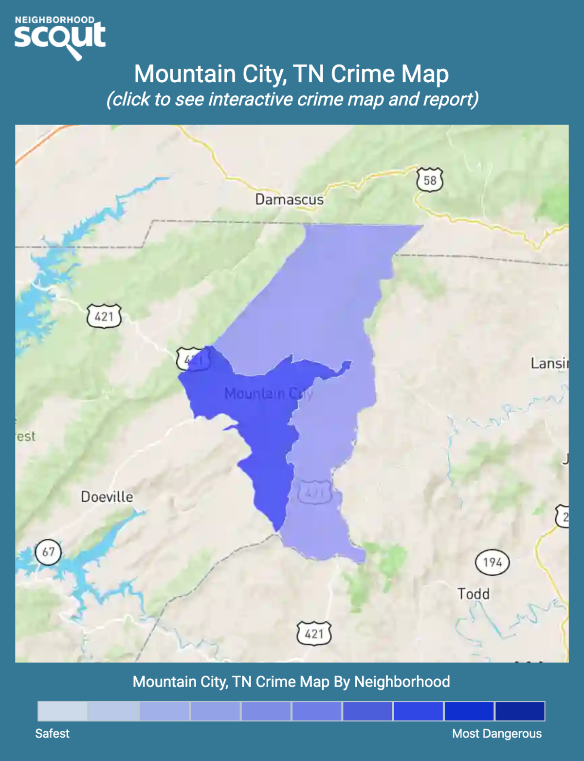 Mountain City, Tennessee crime map