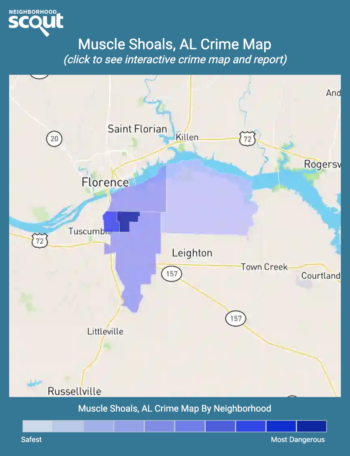 Muscle Shoals, Alabama crime map