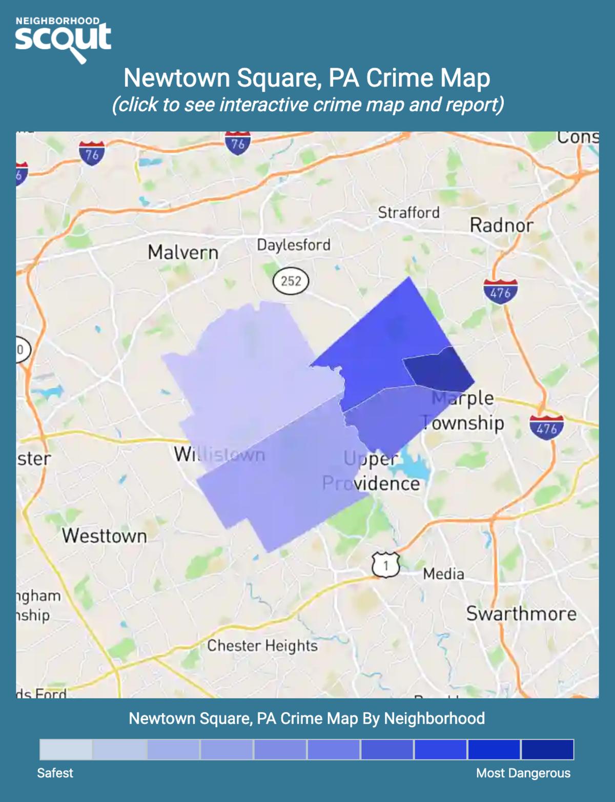 Newtown Square, Pennsylvania crime map