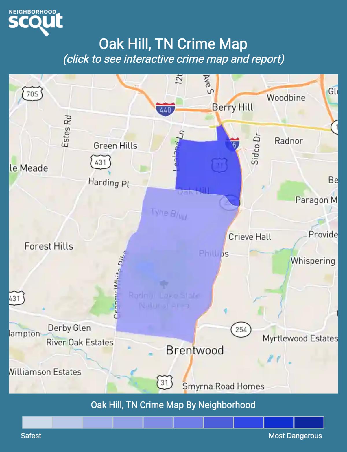 Oak Hill, Tennessee crime map