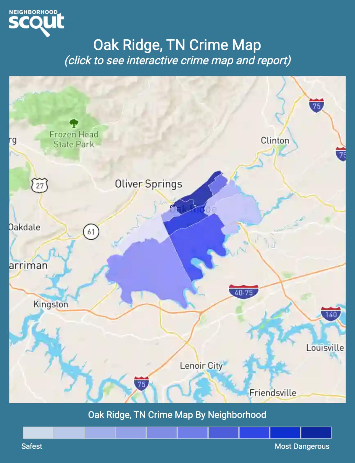 Oak Ridge, Tennessee crime map