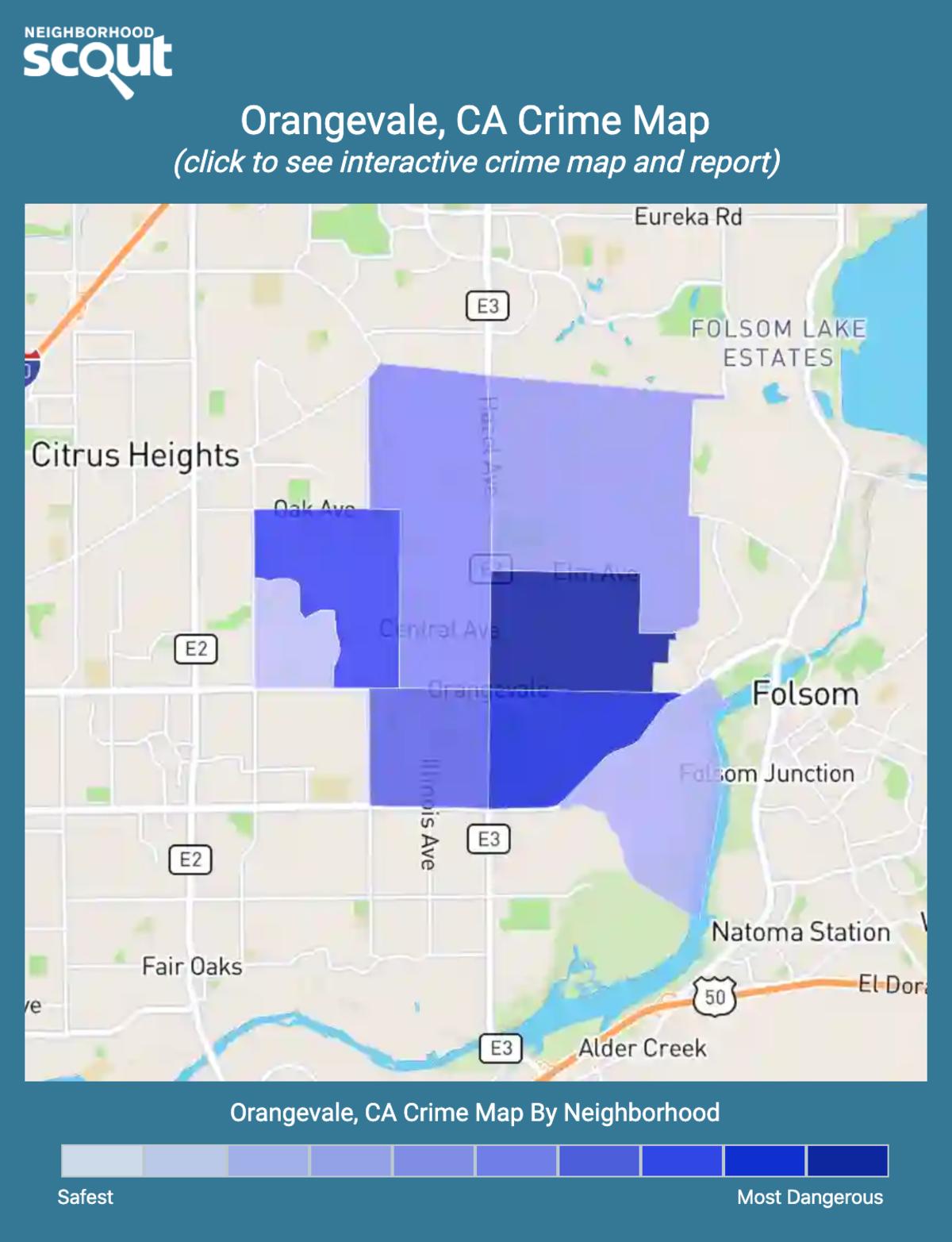 Orangevale, California crime map