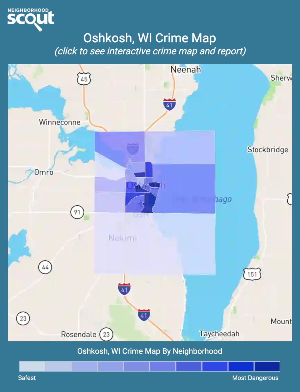 Oshkosh, Wisconsin crime map